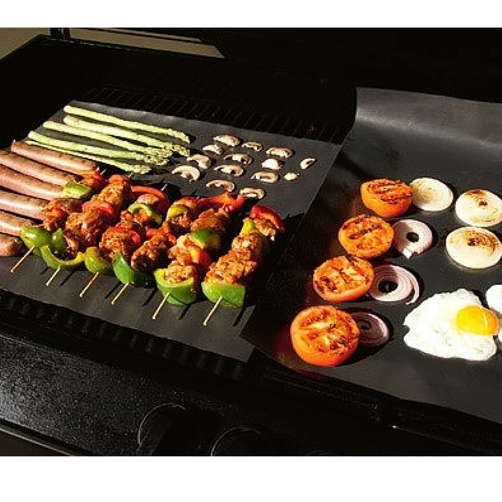 Kubzy BBQ Grill Mat Set of 4 16'' x 13'' Non-Stick, Durable, Heat Resistant - Perfect for Barbecue, Grilling, Oven, Cooking, and Baking by Kubzy Grill Mat (Image #3)