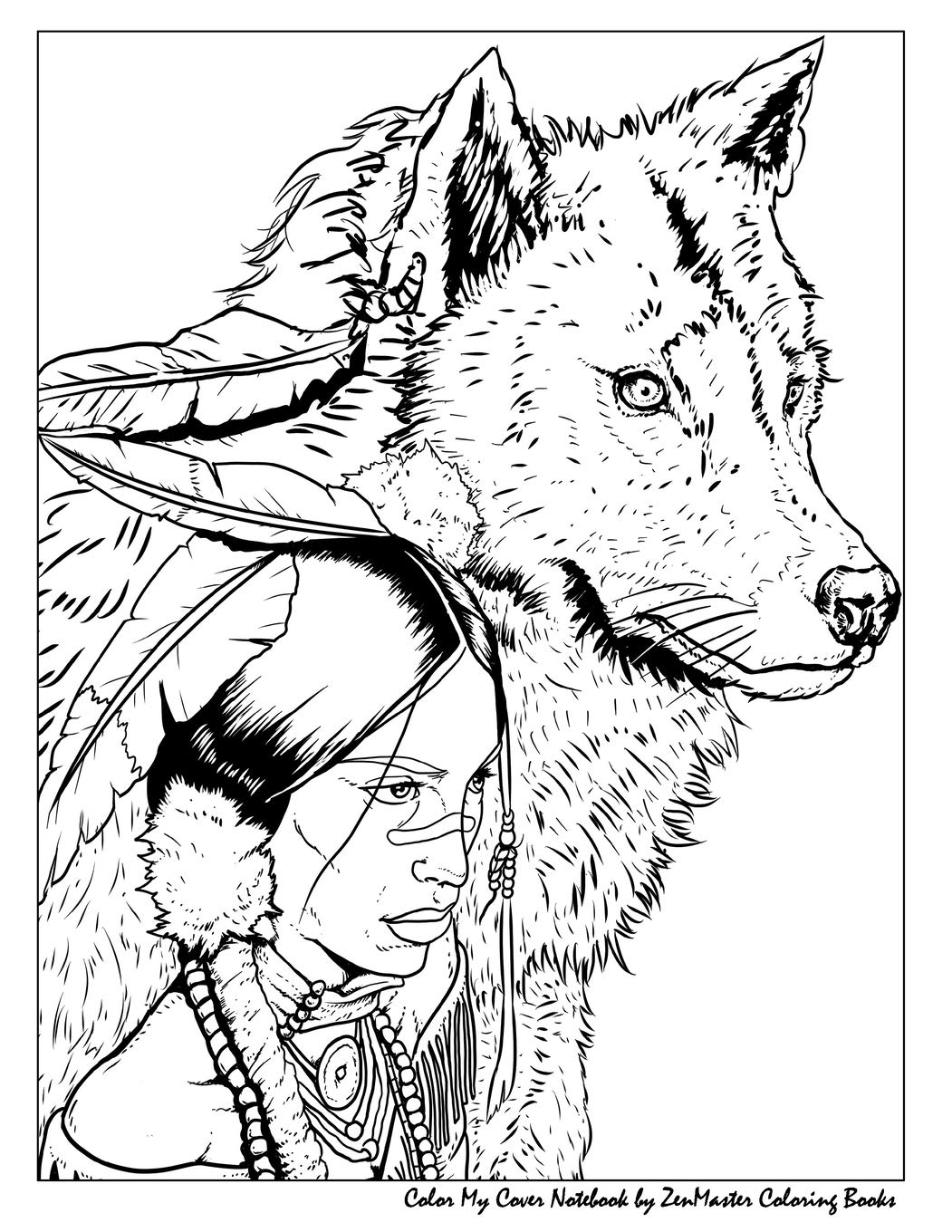 Color My Cover Notebook Native American Woman And Wolf