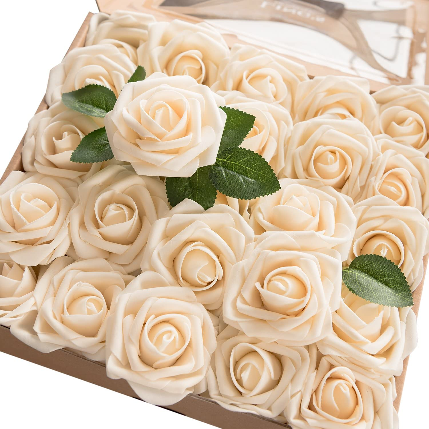 Ling's moment Artificial Flowers 25pcs Real Looking Cream Fake Roses w/Stem for DIY Wedding Bouquets Centerpieces Bridal Shower Party Home Decorations