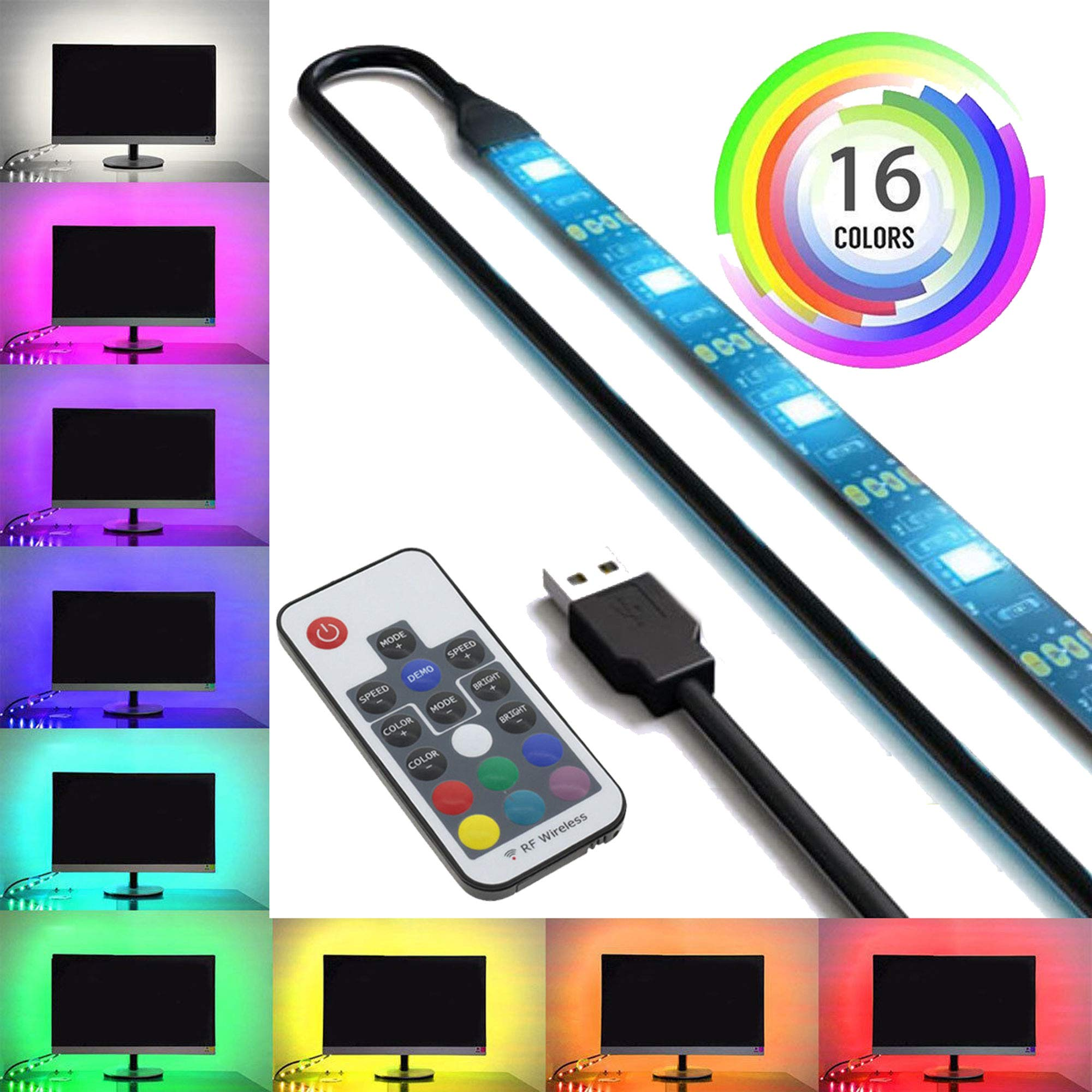 SPE USB LED Light Strip with RF Remote Control - X-Large (156'' / 4m) - Multi-Color RGB 5050 - Dimmer Controller, 3M Adhesive Tape for Home, Kitchen, TV Backlight, Computer, Monitor