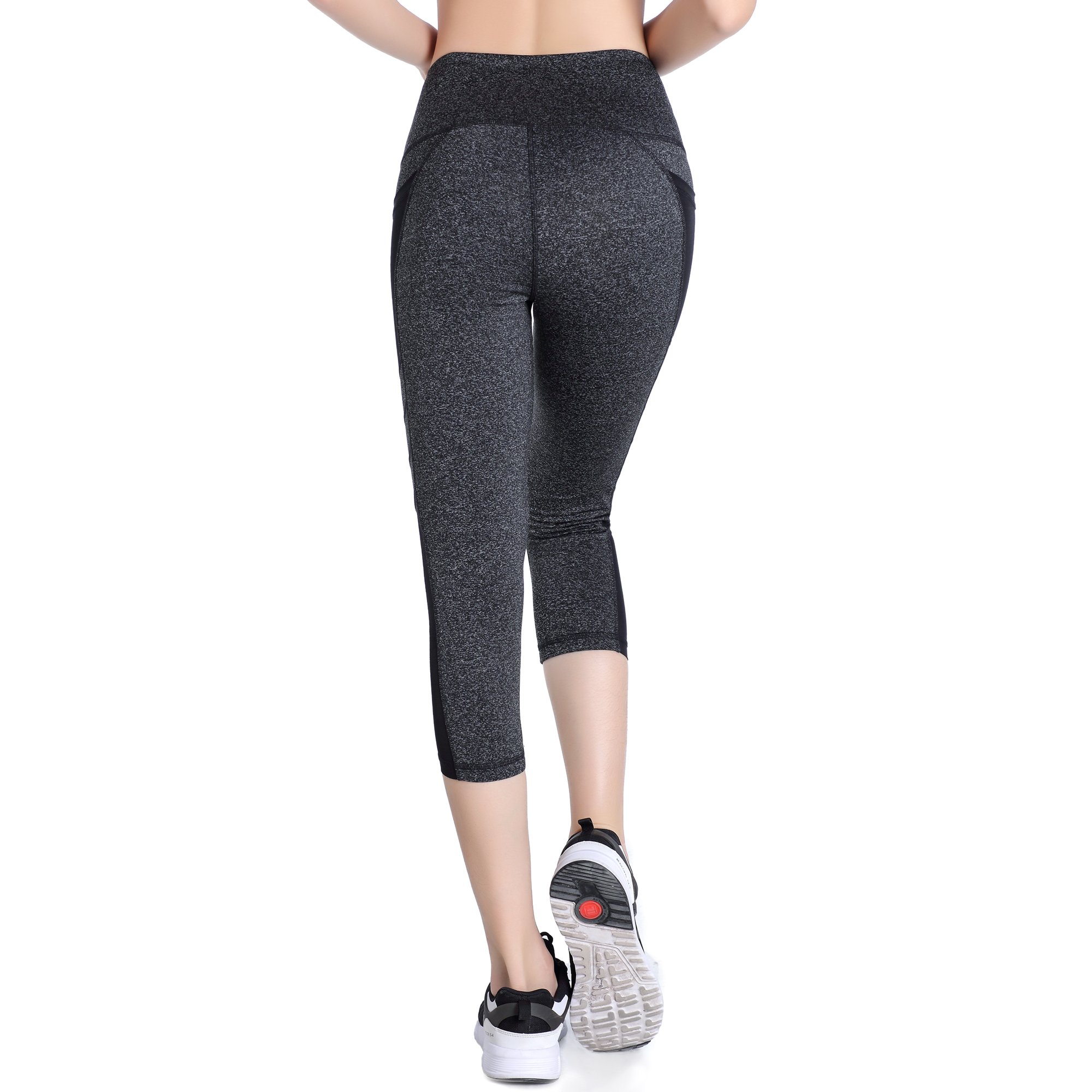 Picotee Women\'s Yoga Capri Pants Workout Running Pants Leggings High Waist With Pocket (M, Grey)
