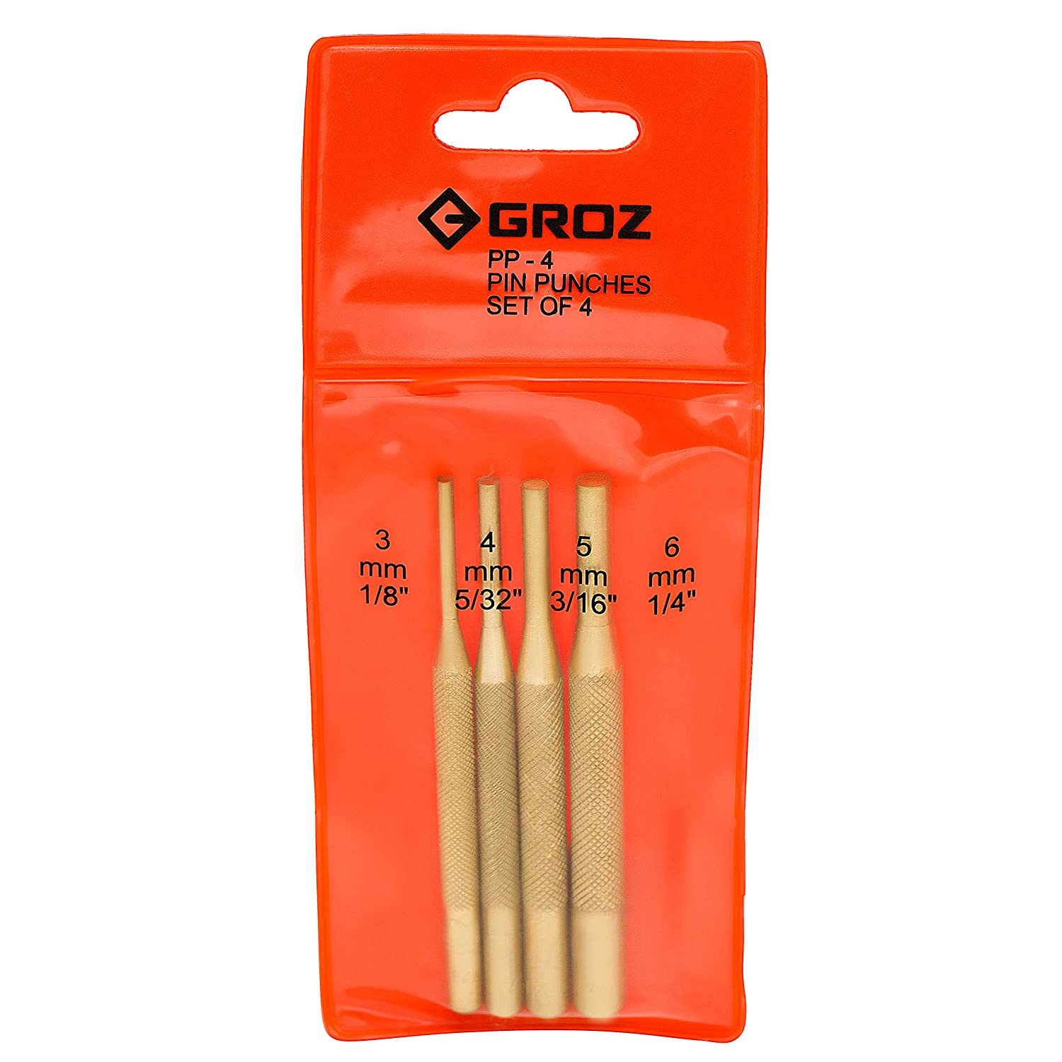 Groz 26768 Brass Pin Punch Set of 4
