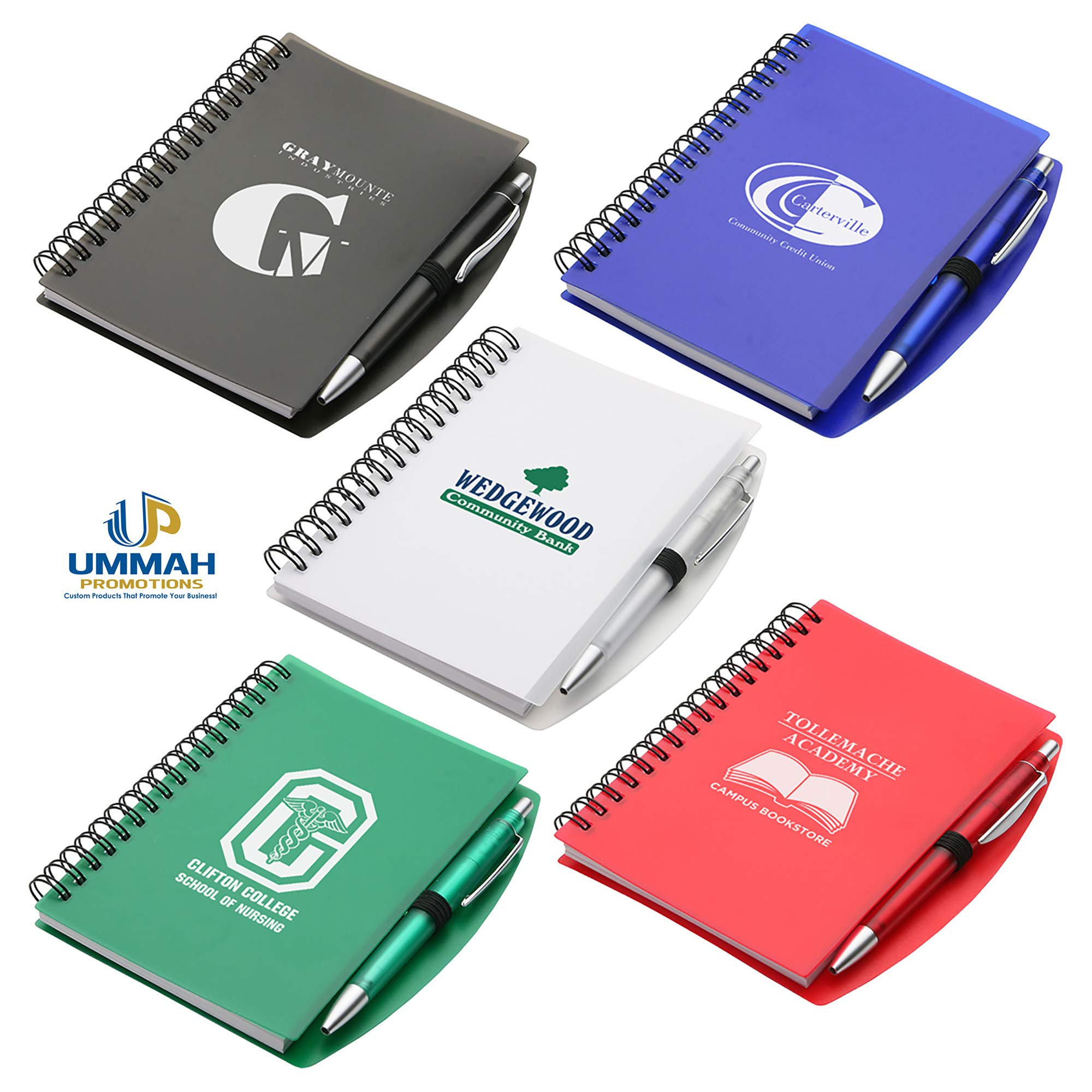 150 Personalized Hardcover Notebook & Pen Set Printed With Your Logo Or Message