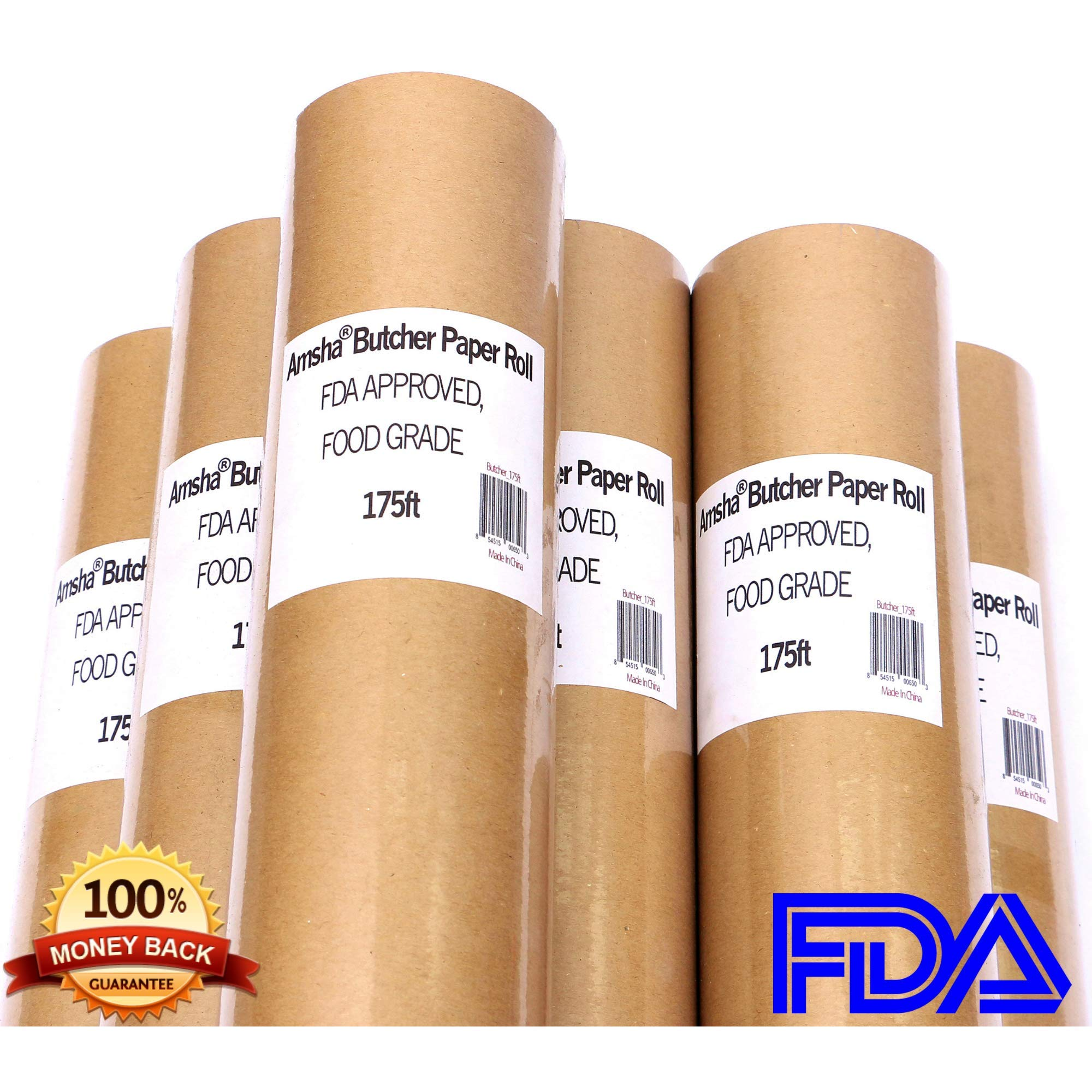 Butcher Paper Roll 18'' X 175' (2100'') Food Grade FDA Approved, Unwaxed, Uncoated and Unbleached, Perfect for Slow Smoke Beef/Pork w/Indirect Heat, Gift Wrapping, Smoker, Microwave & Freezer Safe