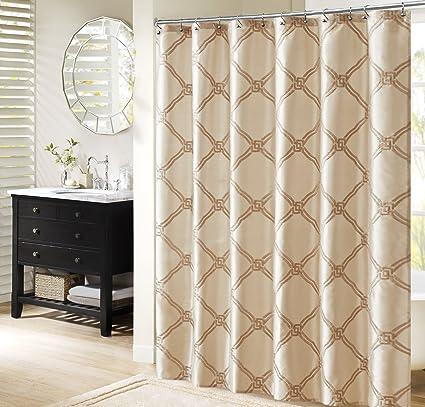Amazon Bombay Teramo Embroidered Shower Curtain 72x72 Ivory 72