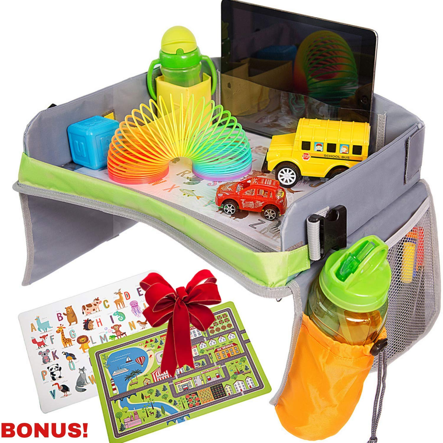 Bulabee Kids Travel Tray for Car Seat, Perfect Toddler Activity Play Organizer for Toys & Games, Holds iPad or Tablet, Snack Tray, Dry Erase Top, Sturdy, Waterproof, Portable, Road Trip Essential by Bulabee Kids