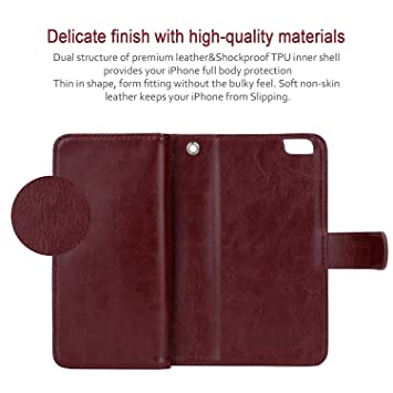 GEOTEL Funda Piel Cuero Artificial(PU)Billetera/Tarjetera/Cartera/Monedero/Bolsa para el iPhone 6 Plus (5,5)