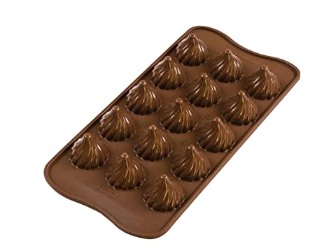 Silikomart Choco Flame Silicone Chocolate Mold, Flexible Tray with 3D Technology Creates 15 Flame-shaped Chocolates, Easily U