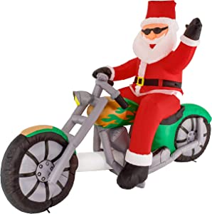 Christmas Masters 6 Foot Inflatable Santa Claus Riding a Motorcycle with Hand Up Waving Hello LED Lights Indoor Outdoor Yard Lawn Decoration - Cute Funny Chopper Xmas Holiday Party Blow Up Display
