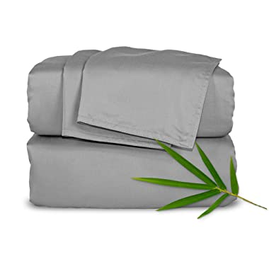 Pure Bamboo Sheets Full 4pc Bed Sheet Set - 100% Bamboo Luxuriously Soft Bed Sheets (Full, Stone Grey)