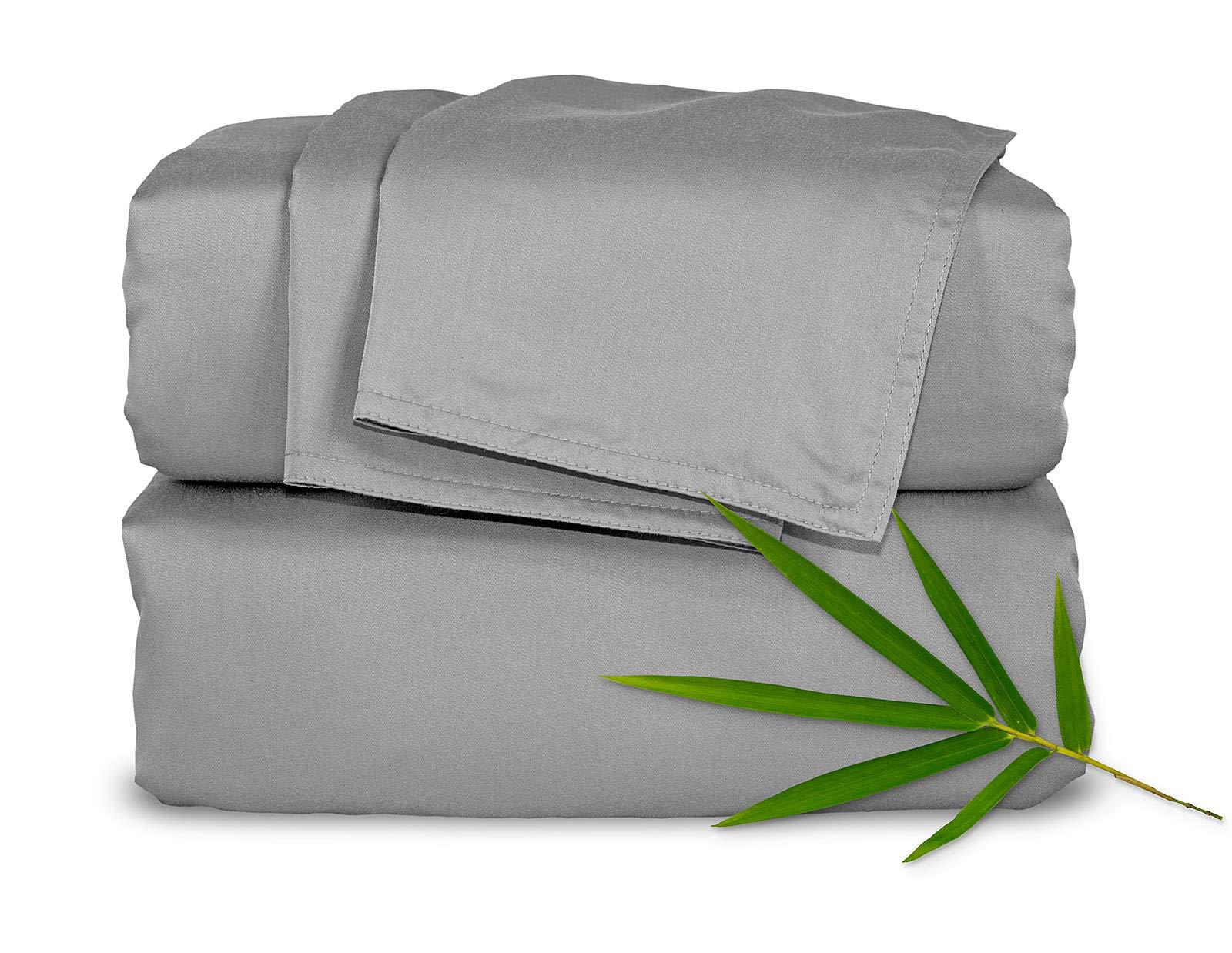 Pure Bamboo Sheets King 4pc Bed Sheet Set - 100% Bamboo Luxuriously Soft Bed Sheets (King, Stone Grey)