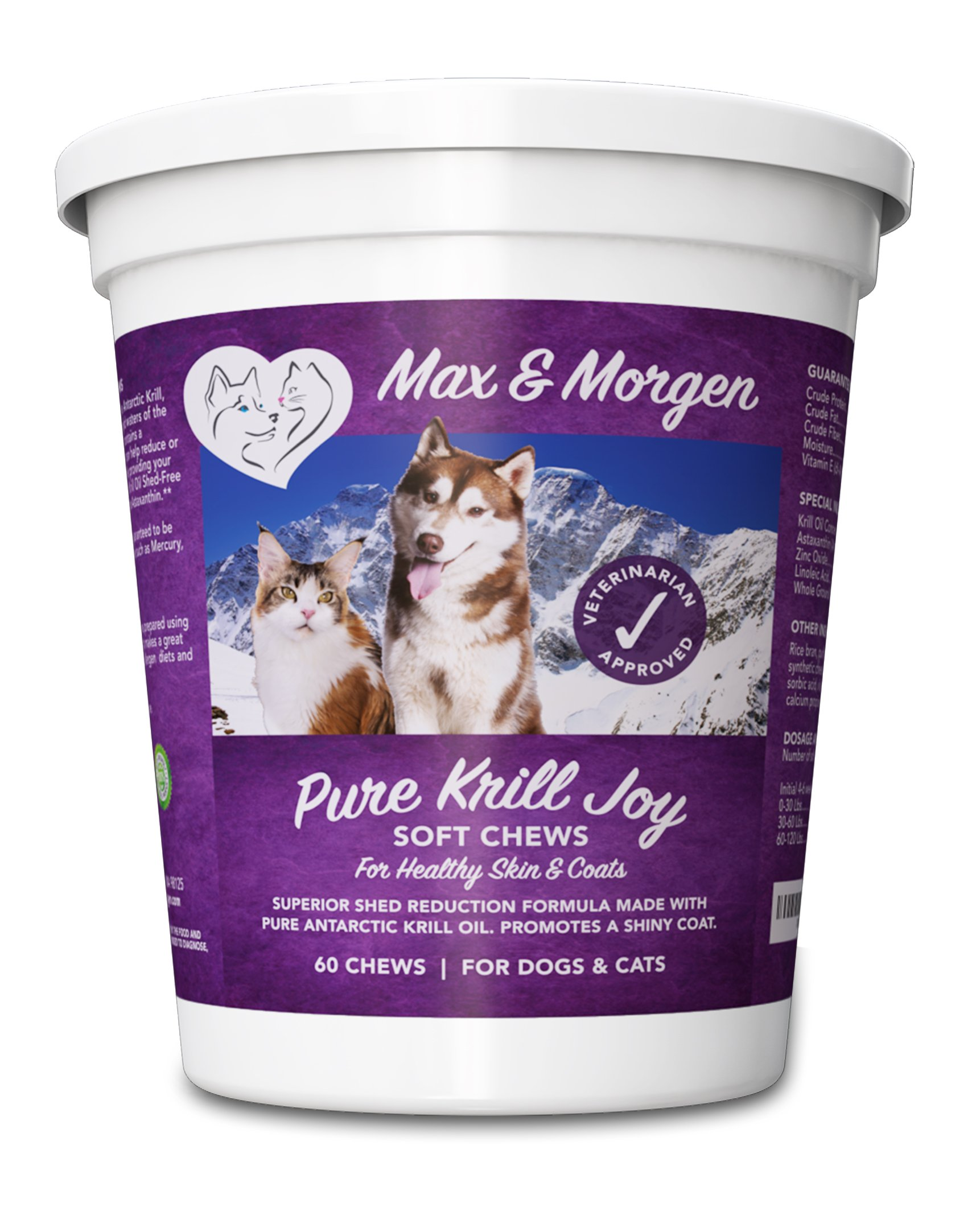 Pure Krill Joy, Antarctic Krill Oil Soft Chews For Dogs, Rich in Omega 3 and Antioxidants, Unique Shed Reducing Formula, Improves Skin and Coat, Low Allergen, Made In The USA, 60 Soft Chews. by Max and Morgen