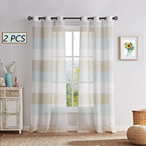 Central Park Tan and Spa Blue Stripe Sheer Color Block Window Curtain Panel Linen Drape Treatment for Bedroom Living Room Farmhouse 63 inches Long with Grommets, 2 Panel Rustic Living Panels