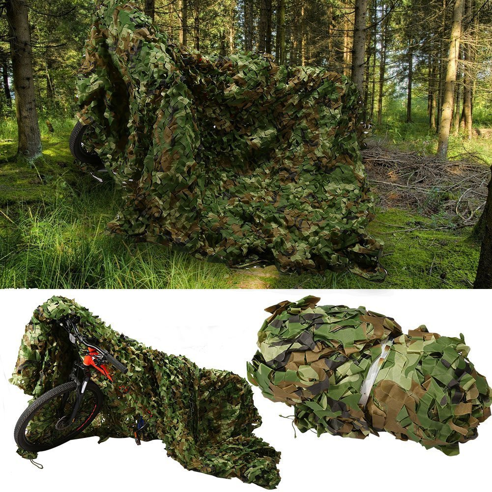 elecfan Woodland Camo Netting, Outdoor 6.6 ft x 10 ft Camouflage Netting Military, Camping Hunting Shooting Blind Sunscreen Camo Net Watching Hide Party Decorations
