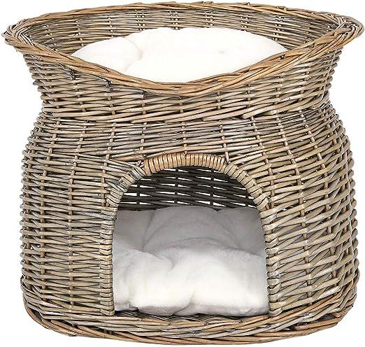 Dibea Cesta de Mimbre para Gatos Cesta para Gatos Cueva para Gatos 55x39x43 cm Gris: Amazon.es: Productos para mascotas