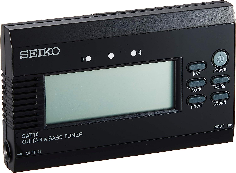 Seiko SAT10BE - Afinador para guitarra y bajo, color negro