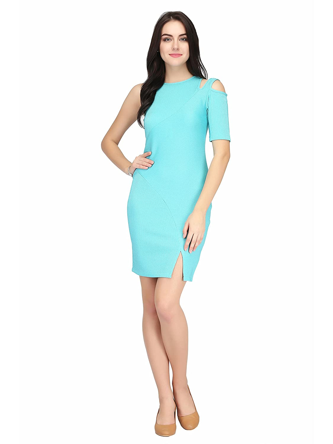 56849111b203 Eavan Turquoise Bodycon Dress  Amazon.in  Clothing   Accessories