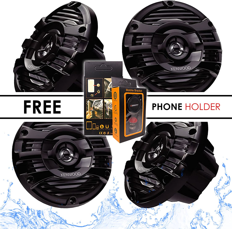 Free Magnet Phone Holder Kenwood KFC-1653MRB 6.5 2-Way Marine Speaker Boat-Yacht-ATV 300W 4 Speakers