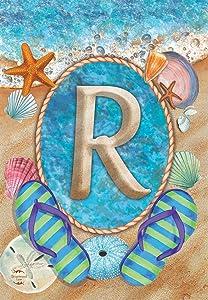 Briarwood Lane Summer Monogram Letter R Garden Flag Flip Flops Seashells 12.5
