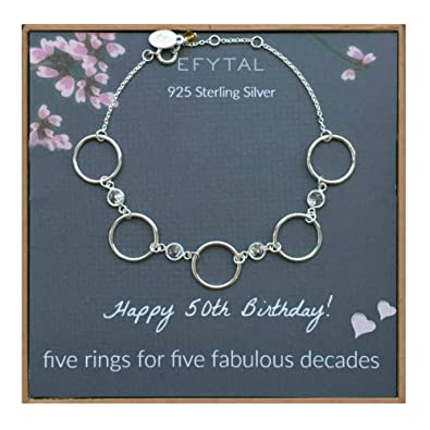Amazon EFYTAL 50th Birthday Gifts For Women Sterling Silver