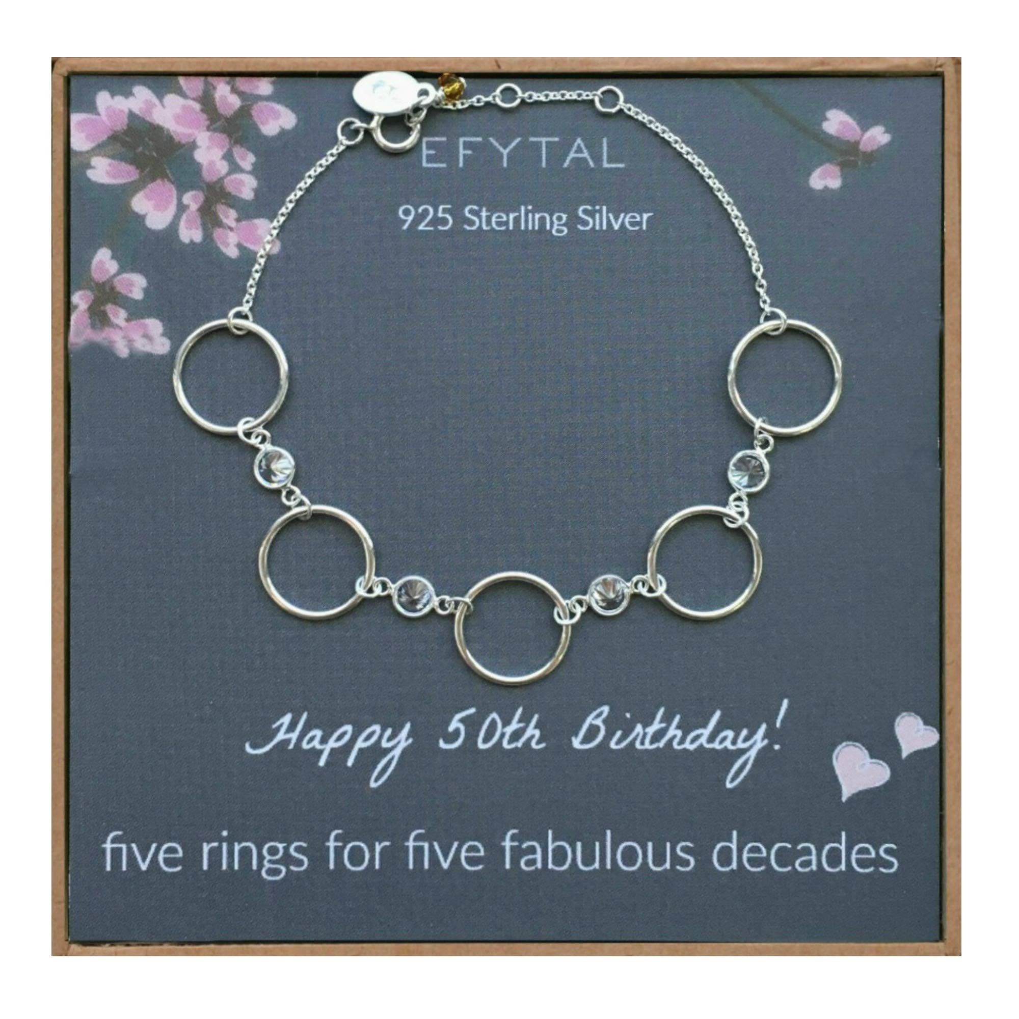 EFYTAL 50th Birthday Gifts for Women, Sterling Silver Five Circle CZ Bracelet for Her, 5 Decade Jewelry 50 Years Old