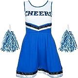 Redstar Fancy Dress - Disfraz de Animadora con Pompones - para Mujer - 6 Colores y Tallas 34 a 44 - Azul - S