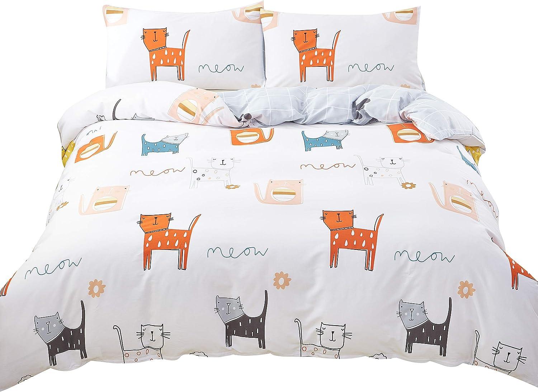 SAIWER 100% Cotton Kids Duvet Cover Sets, Cat Cartoon Pattern,Children Teens Boys Bedding Sets, 1 Duvet Cover 2 Pillowcases - Twin