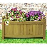 Traditional Wooden Rectangular Planter Garden Plants Flowers Outdoor Natural NEW