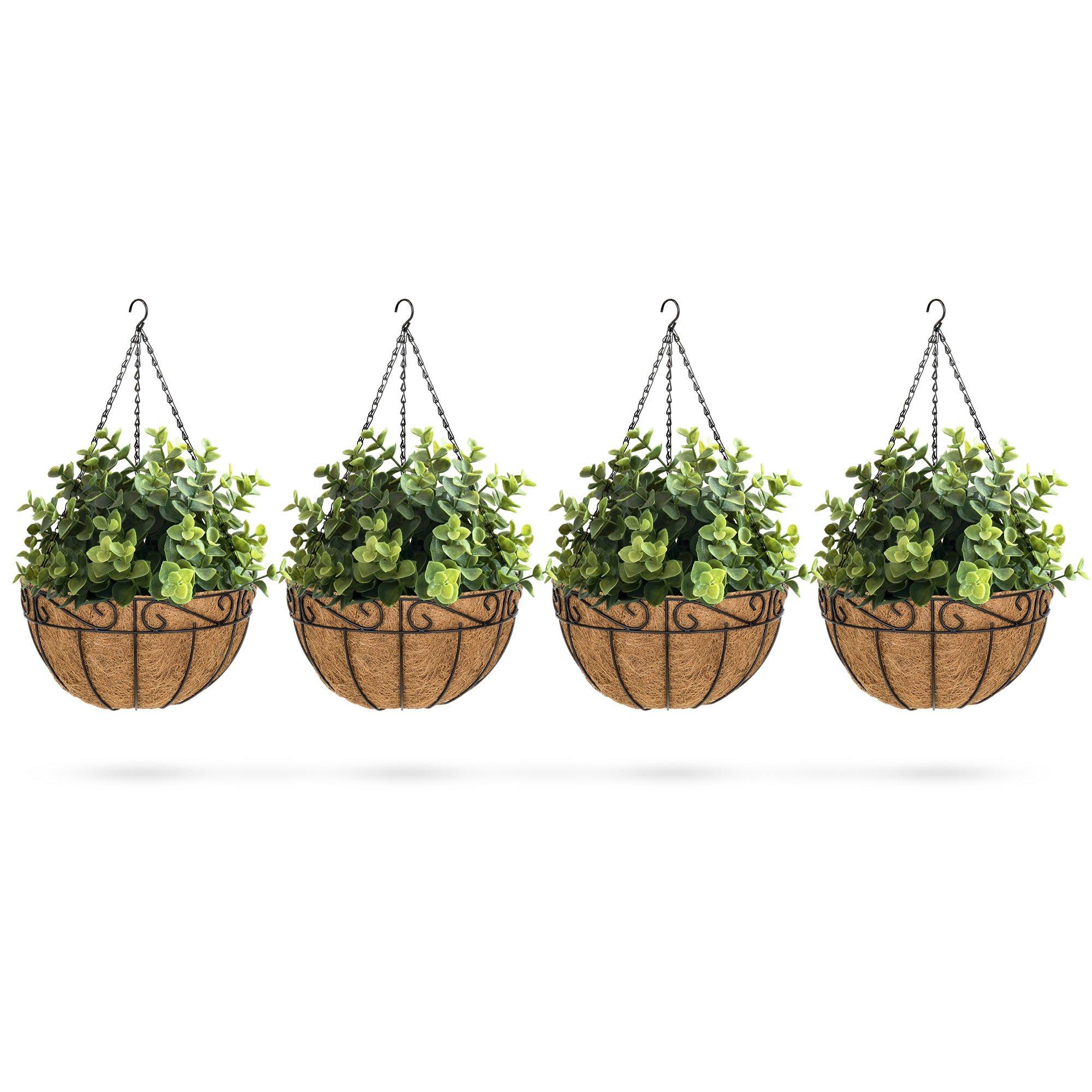 Best Choice Products Set of 4 Decorative Metal Hanging Basket Garden Flower Planters w/Coconut Liner, Hook - Black