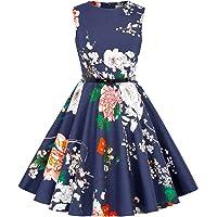 Kate Kasin Niña Vestido Vintage Estampado de Algodón sin Mangas para Fiesta Elegante Retro