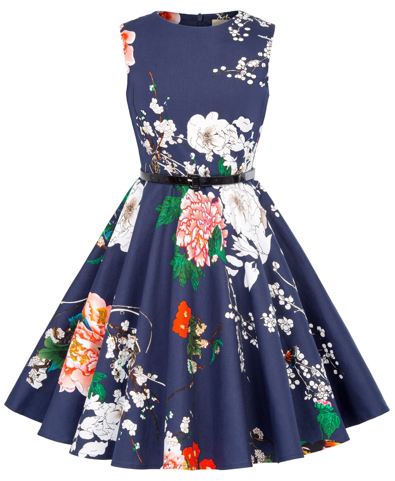 3dd3464f87a Kate Kasin Girls Sleeveless Vintage Print Swing Party Dresses 6-15 Years