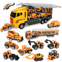 Jenilily Construction Truck Vehicle Container Car Toy Set Trucks Excavator Cement...