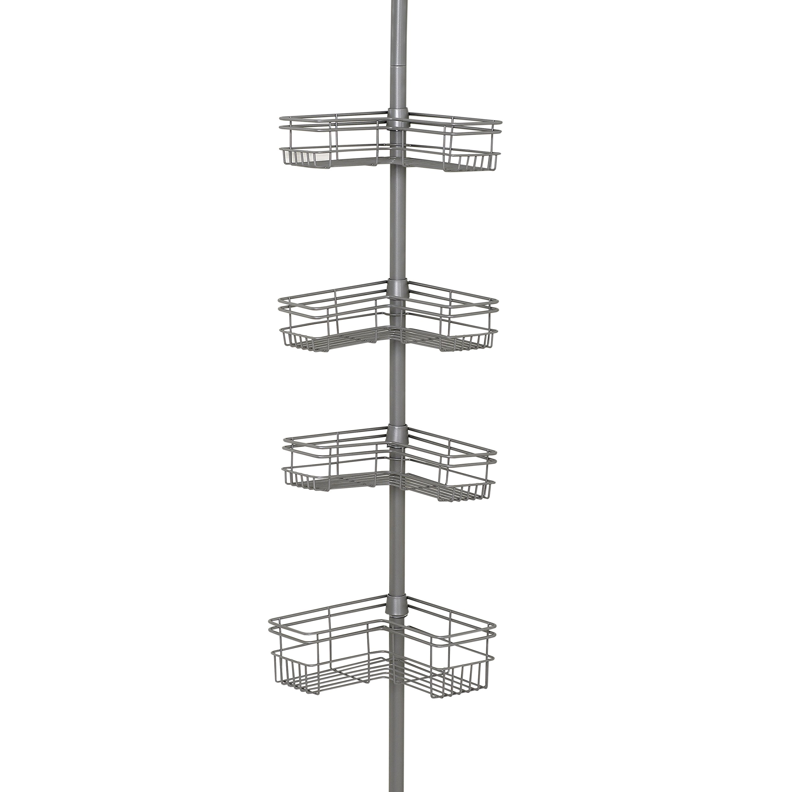 Zenna Home 2130NN, Tension Corner Pole Caddy, Satin Nickel by Zenna Home