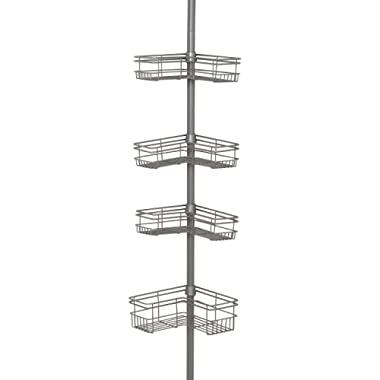 Zenna Home 2130NN, Tension Corner Pole Caddy, Satin Nickel