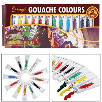 ab6566ea2b68 Bianyo Artist Quality GOUACHE Color Tubes Paint Set - 12ml Tubes
