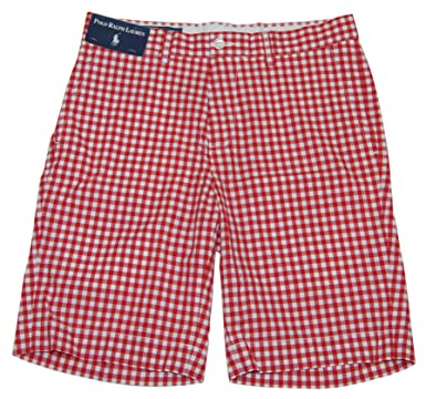 Polo Ralph Lauren Mens Cotton Gingham Plaid Check Dress Shorts Red White  (30)