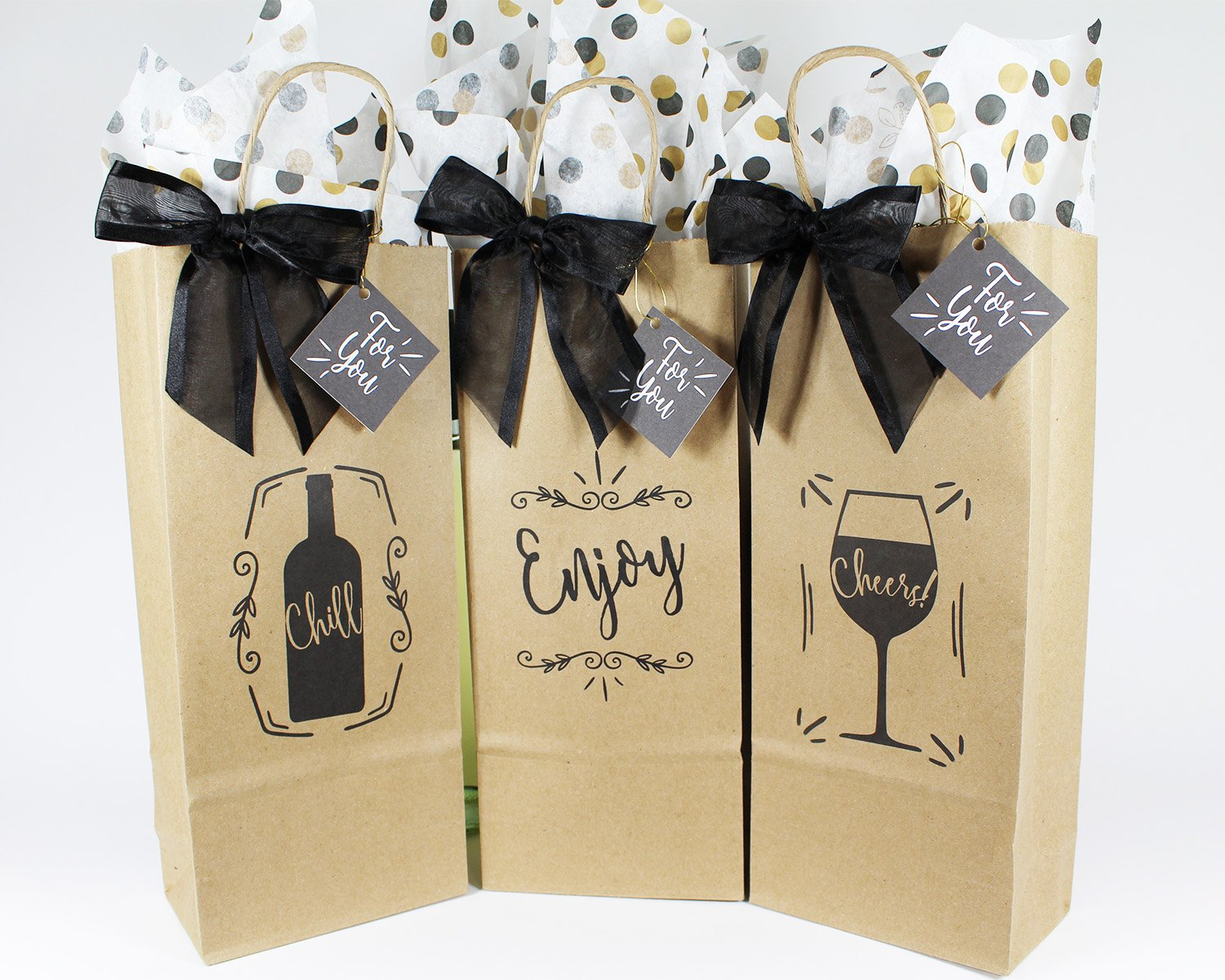 Wine Bottle Gift Bags For All Occasions Set Of 6 Includes Tissue Paper Gift Tag And Twist Tie Bow Bags Made In Usa Of 100 Recyclable Materials
