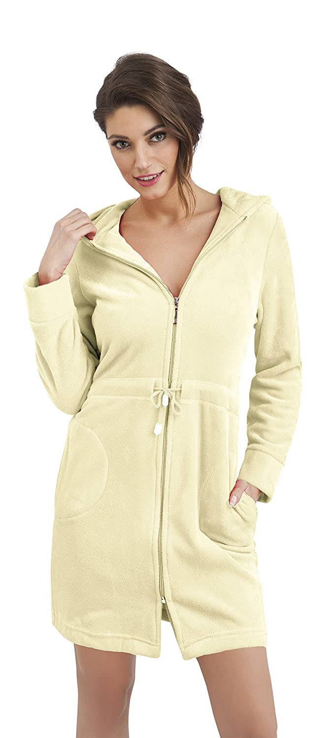 Womens Zip Up Cotton Housecoat Dressing Gown Hooded Bathrobe at ...