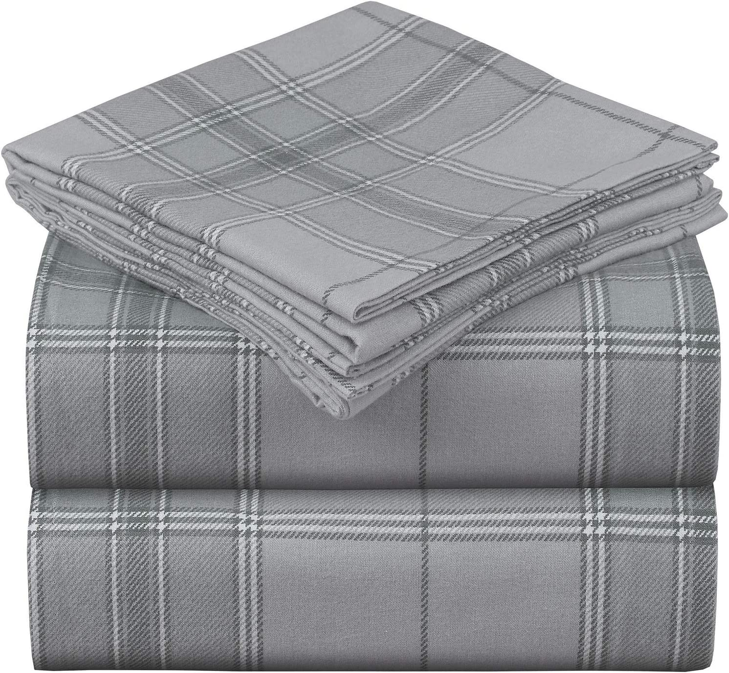Mellanni 100% Organic Cotton Flannel Sheet Set - Heavyweight 180GSM 4 pc Printed Luxury Bed Sheets - Cozy, Soft, Warm, Breathable Bedding - Deep Pockets - All Around Elastic (Queen, Light Gray Plaid)