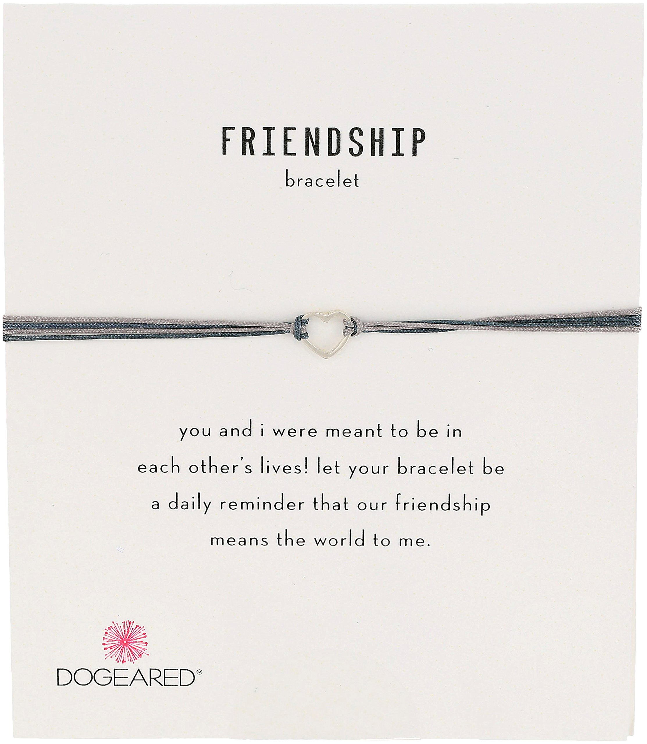 Dogeared Friendship Small Open Heart with Mix String Sterling Silver Grey Bracelet
