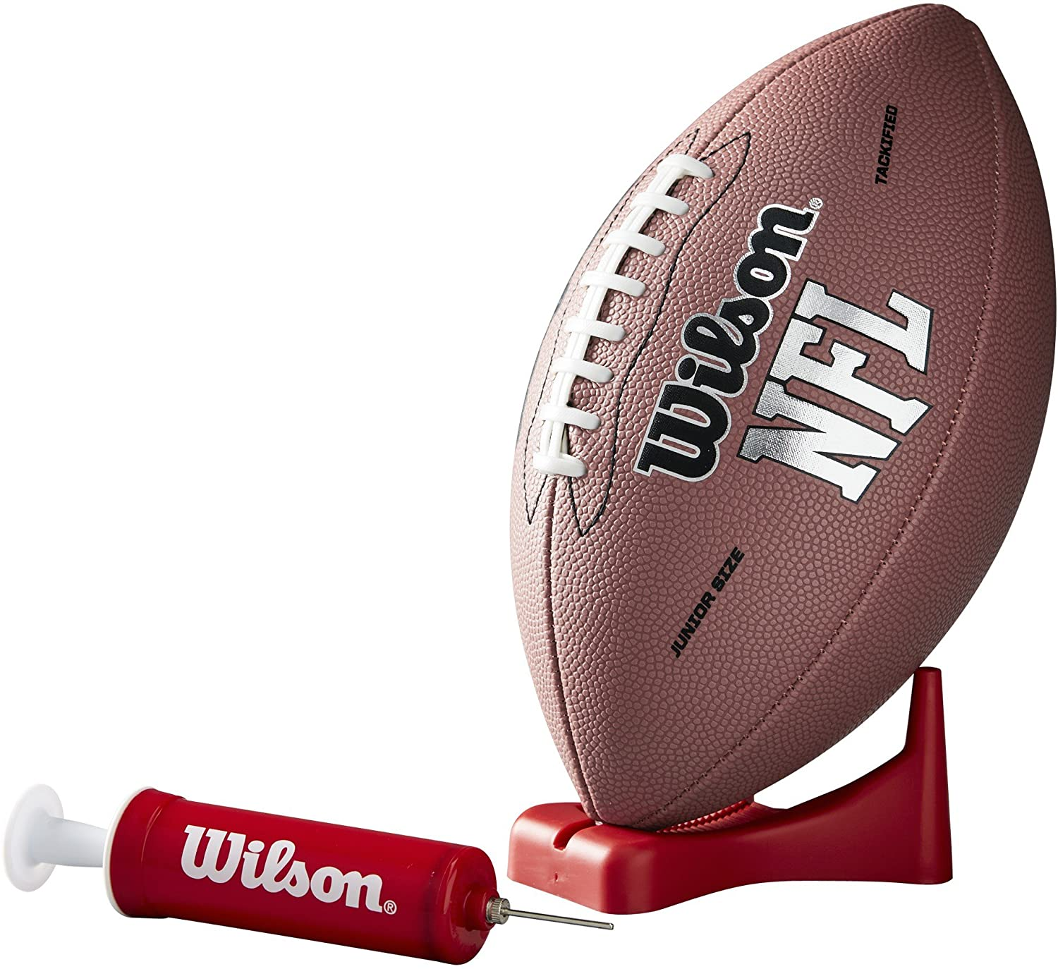 Wilson NFL MVP Junior Football with Pump and Tee, Brown Version: Sports & Outdoors