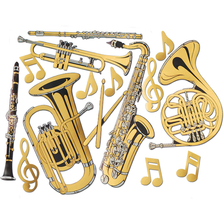 Amazon.com: Gold Foil Musical Instrument Cutouts (15/Pkg): Kitchen ...