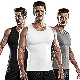 DRSKIN 1~3 Pack Undershirts Running Shirt Tank Tops Men's Cool Dry Compression Baselayer Sleeveless (NM-TA-(B,W,G), S)