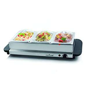 NutriChef 3 Buffet Warmer Server - Professional Hot Plate Food Warmer Station , Easy Clean Stainless Steel , Portable & Great for Parties Holiday & Events - Max Temp 175F