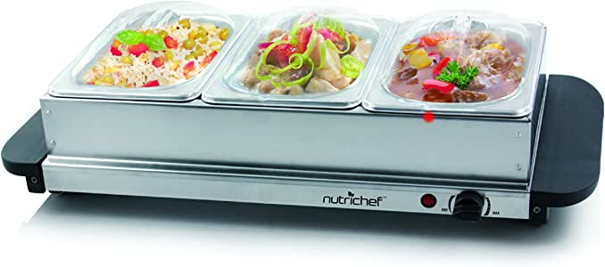 NutriChef 3 Buffet Warmer Server Professional Hot Plate Food Warmer Station , Easy Clean Stainless Steel , Portable & Great for Parties Holiday & Events Max Temp 175F