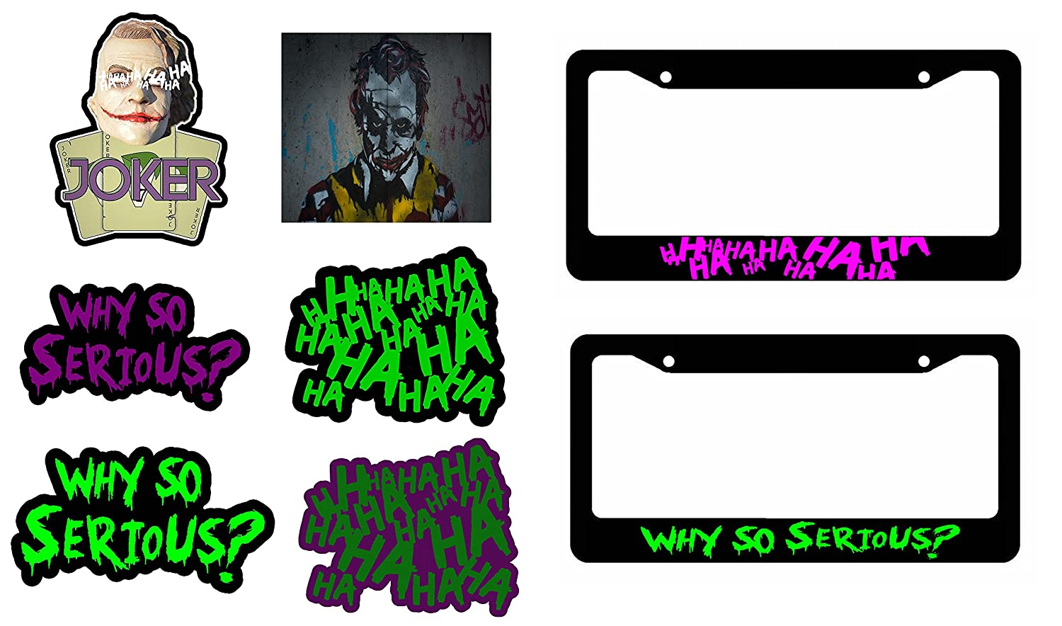 Amazon com joker haha why so serious 6 pack decal stickers two joker license plate frames automotive