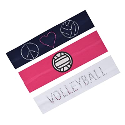 Set of 3 Volleyball Fan Cotton Stretch Rhinestone Patch Headbands