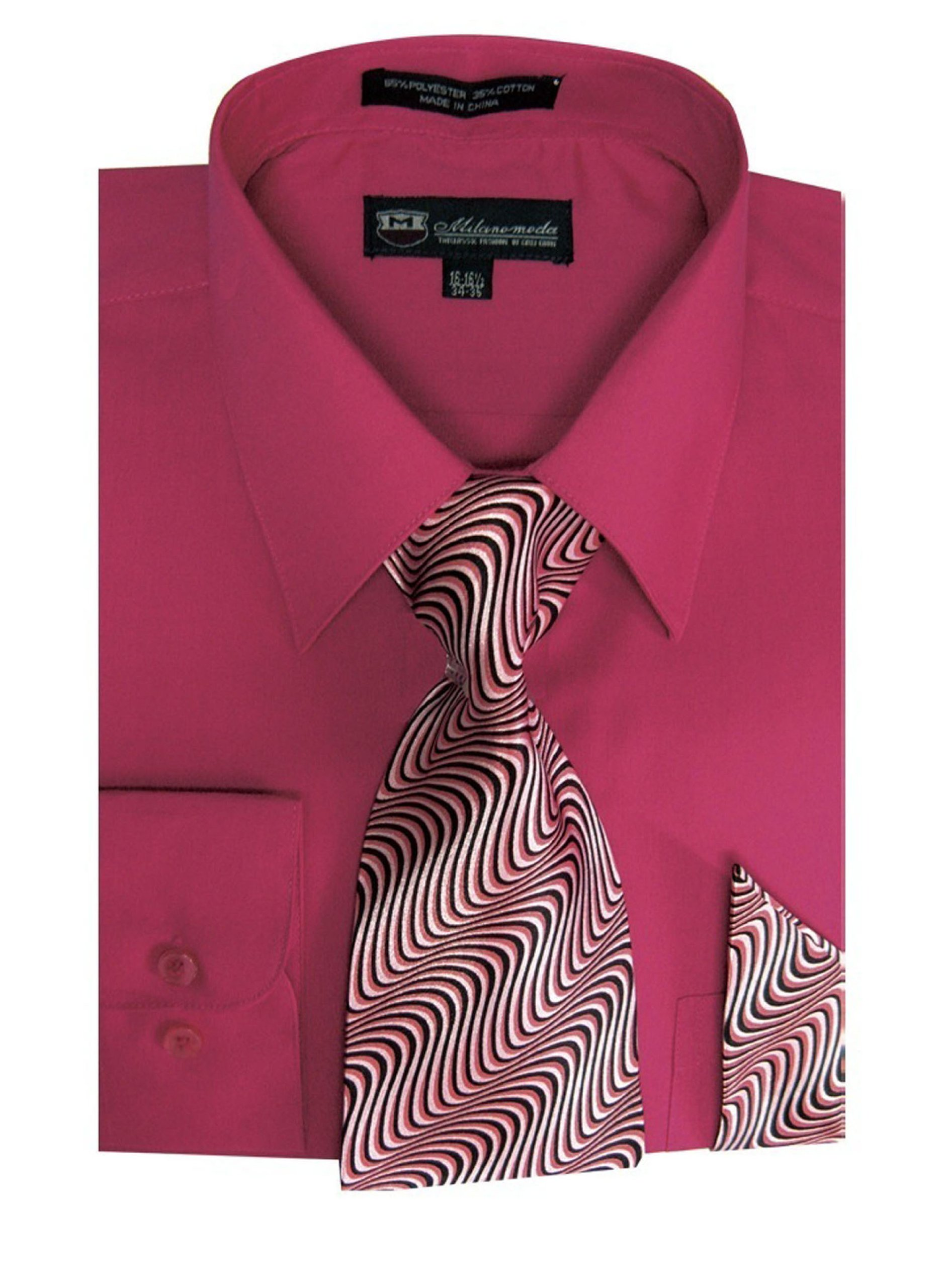 TDC Collection Men's Basic Dress Shirt With Matching Tie And Handkerchief 18-18 1/2 36-37 Fushion