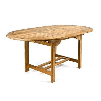 Teakholz tisch massiv  Amazon.de: DIVERO GL05520 Ovaler ausziehbarer Gartentisch Esstisch ...