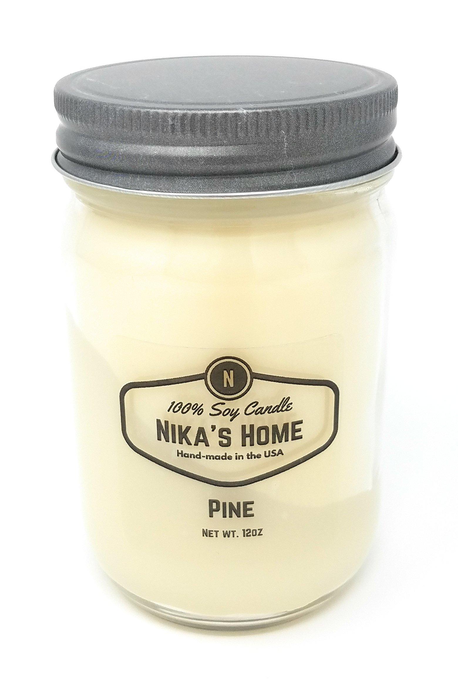 Nika's Home Pine Soy Candle - 12oz Mason Jar